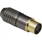 Conector mamă mini-DIN, drept, 4 pini, 204023 BKL Electronic