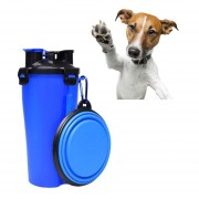 PET Outdoor Portable Doble Uso Una Taza Con Agua Y Alimentos Plegable Bowl (azul)