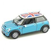 Mini Cooper S W/British Flag 1/28 Blue