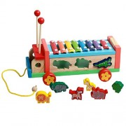 FunnyGoo Wooden Push Pull Along Toy Animal Shape Match Sorter Multifunctional Wheel Bus with Guoqin Octave Hand Knock Xylophone