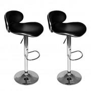 vidaXL Set scaune bar cu spătar și suport pentru picioare, Negru