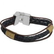 Sullery Rope Type Biker Black Leather Bracelet For Men And Women