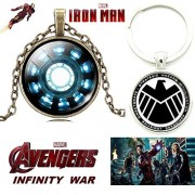 2 PC AVENGERS SET - IRONMAN 3D GLASS DOME BRASS PENDANT WITH CHAIN & 3D GLASS DOME SHIELD KEYCHAIN. LADY HAWK DESIGNER SERIES 2018. ❤ LATEST ARRIVALS - RINGS & T SHIRT - CAPTAIN AMERICA - AVENGERS - MARVEL - SHIELD - IRONMAN - HULK - THOR - X MEN - DC - B