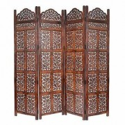 Shilpi Handicrafts Wooden Room Divider Screen Partition Made in Mango Wood Frame Jali in MDF Panel 4 panel