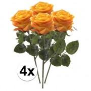 Bellatio flowers & plants 4x Geel/oranje rozen Simone kunstbloemen 45 cm