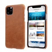 Retro Matte Genuine Leather Coated PC Protective Case for iPhone 11 Pro Max 6.5 inch (2019) - Brown