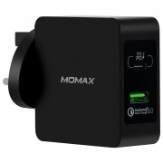 MOMAX 48W PD Type-C + Quick Charge 3.0 USB Port Wall Charger - UK Plug / Black