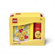 SmartLife LEGO ICONIC Girl svačinový set (láhev a box) - žlutá/červená