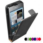 Huawei Ascend Y320 Флип2 Кожен Калъф + Протектор