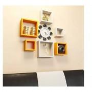 Onlineshoppee Square Nesting MDF Wall Shelf - Yellow White