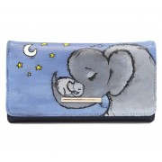Portofel pictat manual - Mama si bebelusul elefant