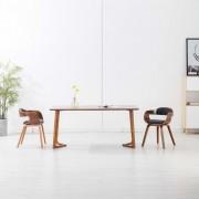 vidaXL Трапезни столове, 2 бр, тъмносиви, текстил и извито дърво