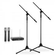 Conjunto de microfones com suporte | 2 Microfones sem fio VHF 2 suportes | Preto