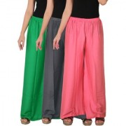 Culture the Dignity Women's Rayon Solid Palazzo Pants Palazzo Trousers Combo of 3 - Green - Grey - Baby Pink - C_RPZ_GG1P2 - Pack of 3 - Free Size