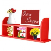 Onlineshoppee Beautiful Red Wooden Wall Shelves/Rack Size (LxBxH-18x5x9.5) Inch