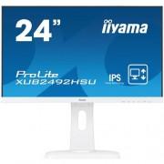 Monitor iiyama XUB2492HSU-W1, 24'', LCD, IPS, 4ms,250cd/m2, 1000:1,16:9,VGA,HDMI,DP,USB,repro,výškov.nas.,pivot