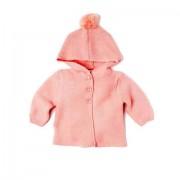 Cardigan tricotat bebe cu gluga si ciucure