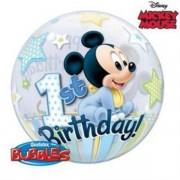 Buborék lufi, Happy 1st Birthday, Mickey , 56cm