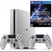 Конзола PlayStation 4 Slim, 500GB, Два геймпада, Сребрист+Игра Star Wars Battlefront II за PlayStation 4
