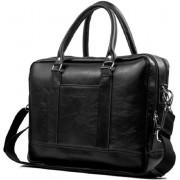 Solier laptoptas aktetas Italiaans leer zwart 43x33x11 cm Ultimate Travelstyle