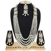 Aadita White Kundan Pearls Necklace with Maang Tikka Wedding Long Haram Bridal Jewellery Sets for Women and Girls-NK
