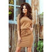 numoco Sportovní dámské šaty v karamelové barvě 13-108 L