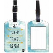 Nutcaseshop EAT SLEEP TRAVEL REPEAT SKY DESIGN Luggage Tag(Multicolor)