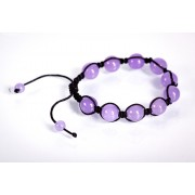 Brățară Shamballa din șiret negru cu bile din jad violet