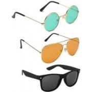 SO SHADES OF STYLE Wayfarer, Round, Aviator Sunglasses(Green, Orange, Black)