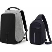 Set Rucsac laptop antifurt maxim 15.6 cu port USB de incarcare gri plus mini-Rucsac negru