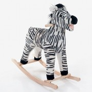 Kids Rocking Ride On Toy Zebra Plush Animal Happy Trails Wooden Rocker w/Smooth Handles