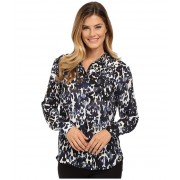 Vince Camuto Button Front Animal Spring Blouse Black Orchid