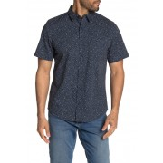 Public Opinion Short Sleeve Regular Fit Print Woven Shirt NAVY WHITE DASHES