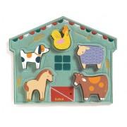 Drewniana i filcowa układanka MOWY, puzzle ze zwierzątkami dla dzieci 12 miesięcy DJECO DJ01055