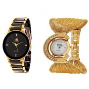 IIK Collection BlackGold And Glory Golden Zula Couple Analog Watches For Men And Women