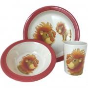 Merkloos 2x 3-delige ontbijtsets bord/kom/beker voor kinderen leeuw thema wit/rood melamine