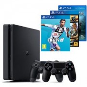 Конзола PlayStation 4 Slim 500GB Black, Sony PS4+Игра FIFA 19+Геймпад - Sony PlayStation DualShock 4, V2+Игра Grand Theft Auto V+Игра God of War