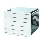 Suport plastic cu 5 sertare pentru documente, HAN iBox - negru lucios/alb lucios