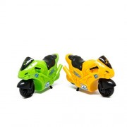 Blue Mango Motorcycle Toys for Boys Model Vehicles Friction Powered High Speed Motorcycles With Rider Toy For Kids 2 Pieces. ( Green Yellow )