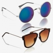Knotyy Retro Square, Round Sunglasses(Blue, Brown)