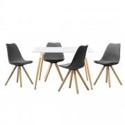 [en.casa] Mesa de comedor diseño - blanco - Set de sillas con estilo elegante - gris