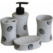 Set baie portelan 4 piese dozator sapun sapuniera suport periute dinti pahar cu buline