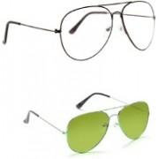 Amour-Propre Aviator Sunglasses(Green, Clear)