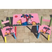 Masuta cu scaunele lemn Safari roz