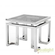 Masuta Living LUX design modern cu blat din sticla fumurie Table Palmer 108983 HZ
