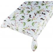 Merkloos Buiten tafelkleed/tafelzeil lichtblauw vogel print 140 x 245 cm