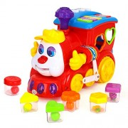 Baby Smart Q&A CartoonTrain On Wheels Bump and Go Musical Toy , Battery Operated Educational Toy with Piano Keys and Letter and Swith Buttons from Flying Toyszer