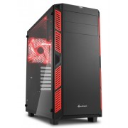 Sharkoon AI7000 Red Glass Window ATX Tower PC Gaming Case with Side Window
