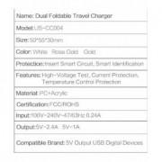 Incarcator retea Usams U2+ Dual USB Huawei Ascend Mate8 Auriu