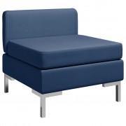 vidaXL Модулен среден диван с възглавница, текстил, син